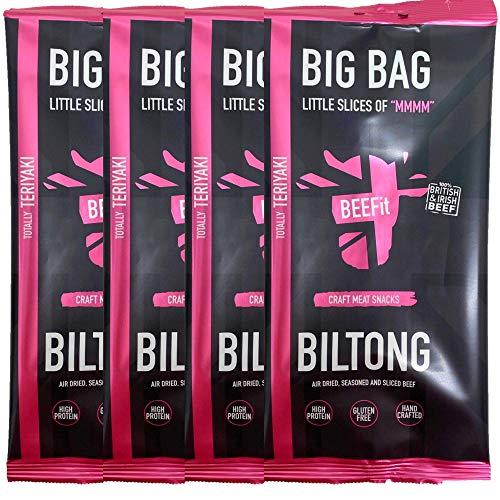 BEEFit Snacks 1kg (4x250g) Teriyaki Biltong, Hohes Protein, Gesund, Wenig Zucker, Nicht Beef Jerky