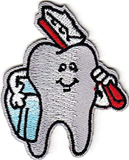 TOOTH w/TOOTHBRUSH - DENTAL - PROFESSION - MEDICAL - IRON ON EMBROIDERED PATCH