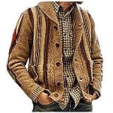 Chaqueta de hombre para hombre, estilo casual, camuflaje, sudadera deportiva para otoño e invierno, chaqueta de punto suelta, chaqueta cálida con capucha, caqui, M