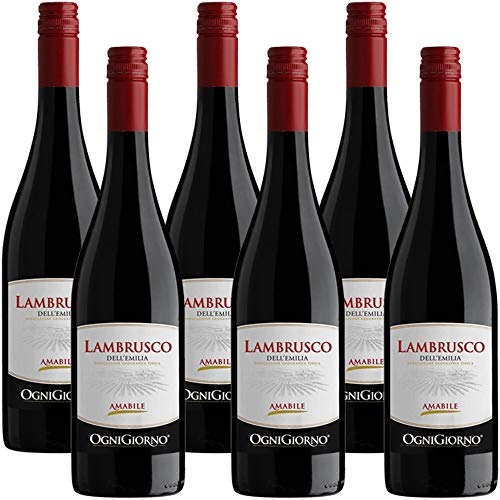 Lambrusco Emilia IGT | Zonin | Vino Rosso Frizzante | 6 Bottiglie 75Cl | Idea Regalo