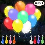 omitium LED Luftballons, 40 Stück Leuchtende Luftballons Bunte LED Helium Ballons 8 Farben für Hochzeit Party, Geburtstag, Festival, Weihnachten Dekoration
