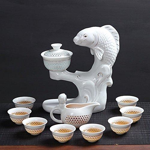 CHQ Paresseux Ensemble de Thé Semi-Automatique en Porcelaine Blanche Ensemble Maison Simple Boire du Thé en Céramique Kung Fu Créateur de Théière,B