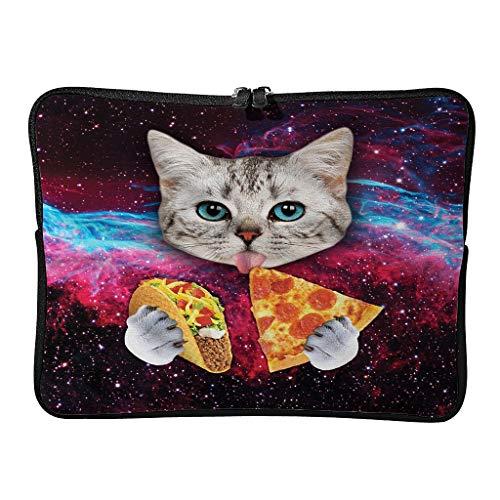 Portátil Ordenador y Tableta Bolsa de Hombro Espacio Gato Comiendo Pizza 1 Portátil Duradera Para Portátiles de hasta 16 Pulgadas Blanco 12 Zoll