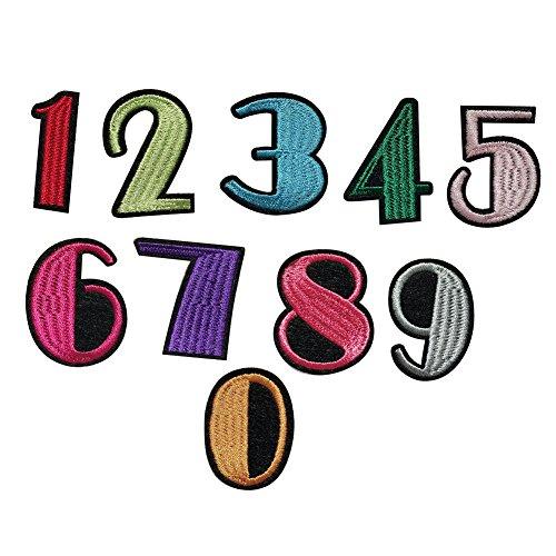 longyitrade Aufnäher/Bügelbild, Motiv: Zahlen von 0-9, zum Annähen/Aufbügeln/für Applikation, zur Dekoration von Kleidung/Jeans