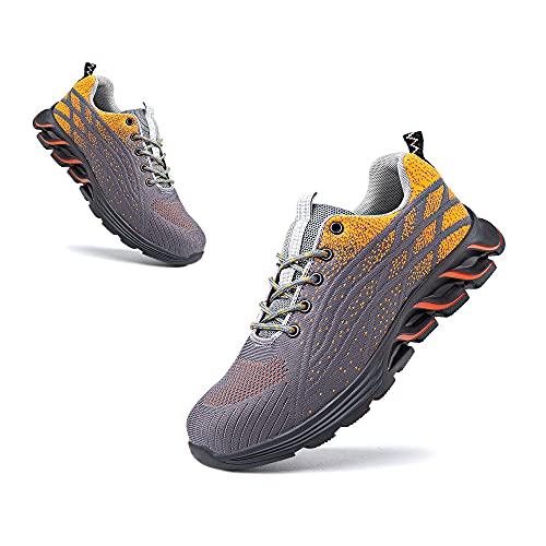 Zapatos de Seguridad Hombre Punta de Acero Botas de Seguridad Mujer Deportiva Zapatillas Trabajo Unisex Antideslizante Respirable Negro Gris Talla 36-48 EU