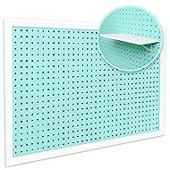 "Pegboard Organizer - Craft Peg Board   Nursery Storage   Pegboard Wall Organizer for Office   Fits 1/4"" & 1/8"" Pegboard Accessories Basket & Hooks   White Pegboard Shelf Included (Mint/Aqua)"