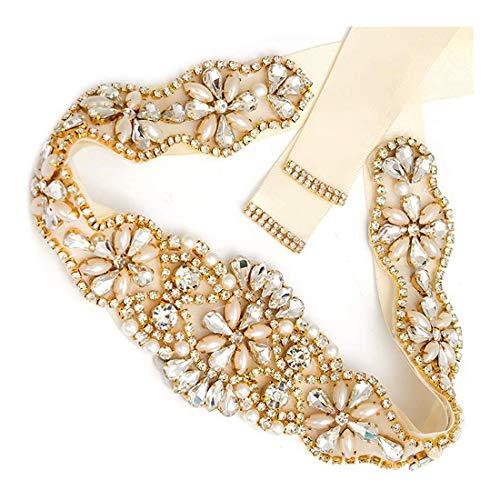 Tendaisy Women's Beaded Rhinestone Pearls Wedding Dress Belt Bridal Sash for Bridesmaid(Gold-Ivory)