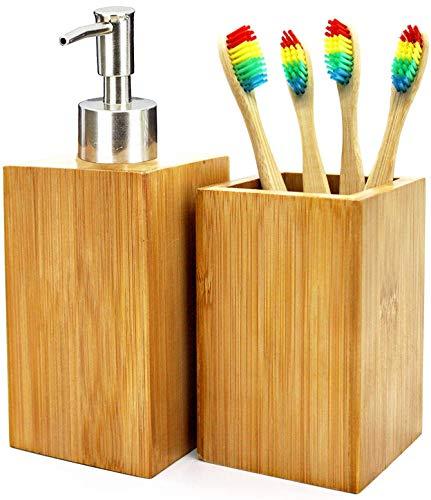 Set Accesorios de baño: dispensador de jabón + Vaso Porta cepillos + 4 cepillos de Dientes de...