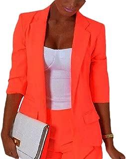 MogogoWomen Pure Colour Short Mini 3/4 Sleeve Fitted OL Blazer Coat Tops