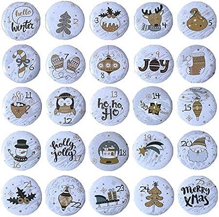 Ambolio Boutons num/éro 1-25,Boutons Chiffres Noel,Boutons du Calendrier de lAvent,25 Boutons du Calendrier de l/'Avent,1-25 Calendrier de lAvent avec Chiffres Num/érot/és. B