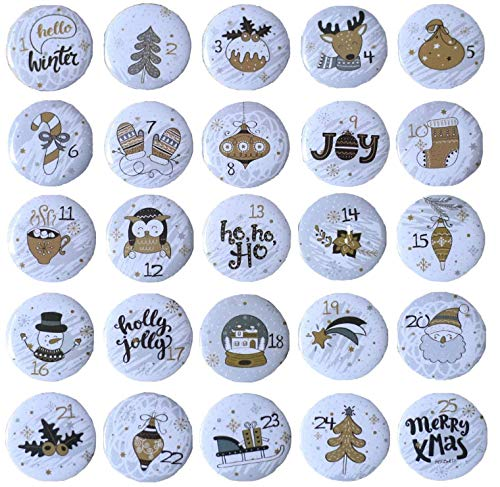 Ambolio Zahlen Anstecker,Adventskalender Zahlen,Nummer Buttons,25 Adventskalender Buttons,Weihnachtskalender Selber Basteln,Adventskalender Zahlen Aufbügeln,Adventskalender Zahlen Button Kinder. (A1)