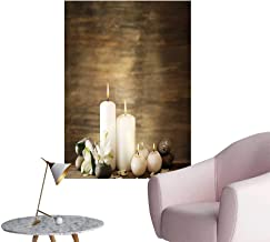 Vinyl Wall Stickers Composition of Pure Candles Wooden Background with Stones and Flower Petals Brown and Perfectly Decorated,24