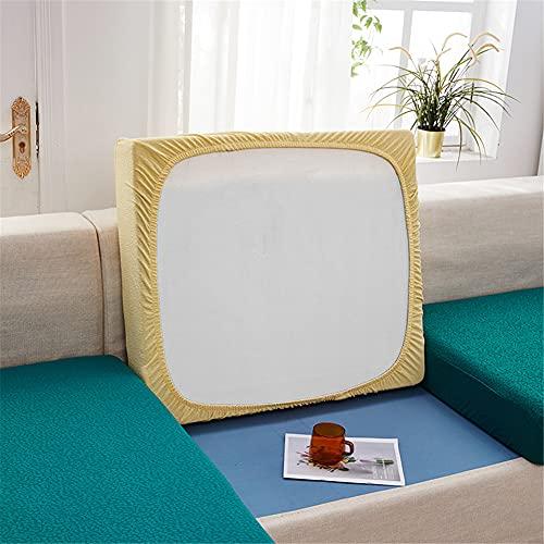 Fundas de cojín elásticas para sofá, impermeables, fundas de cojín de sofá, fundas de repuesto para cojines individuales (amarillo, rectángulo)
