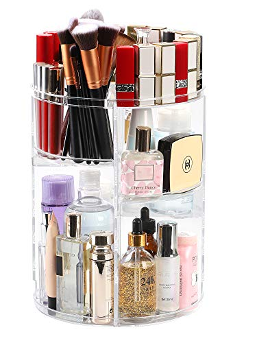 Kootek Rotating Makeup Organizer - 360 Spinning Makeup Storage Rack Adjustable Swivels Cosmetic Organizers Brush Holder Large Capacity with 4 Layers Tray for Bathroom Bedroom Vanity Dresser Room