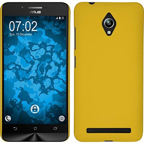 PhoneNatic Hülle kompatibel mit Asus Zenfone Go (ZC500TG) - Hülle gelb gummiert Hard-case + 2 Schutzfolien