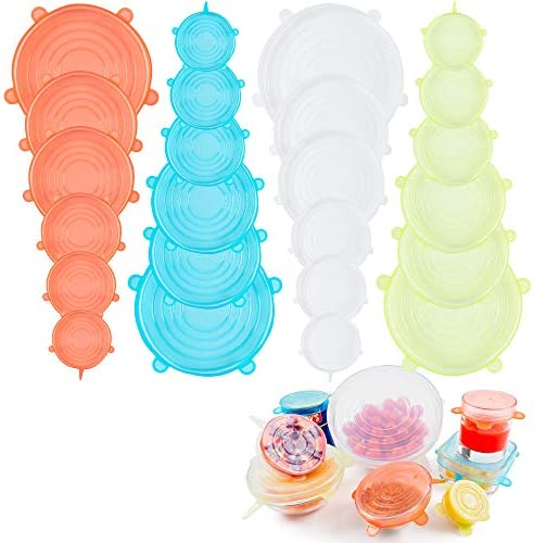 Silicone Stretch Lids Reusable Durable Pack of 24 Pieces Expandable Silicone Food Covers Bowls product image