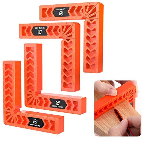 Nuovoware Set di 4 Pz Piastre di Posizionamento a 90°, 4' Morsetto ad Angolo Retto in Plastica per Falegnameria Righello a 90 Gradi per Porte Cornici Scatole Armadi e Cassetti, Arancio