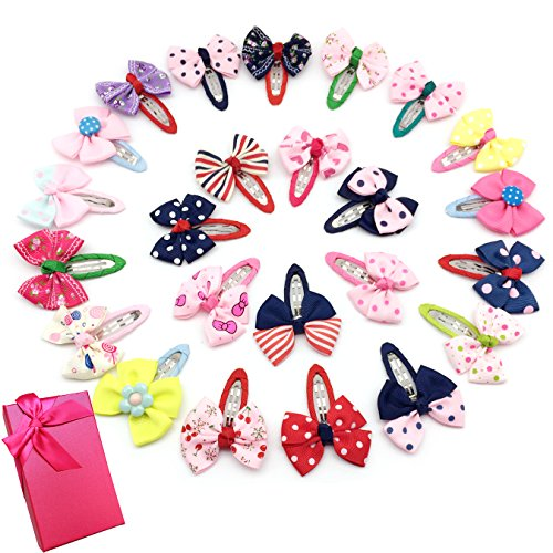 Elesa Miracle Baby Girl Hair Clips Toddlers Infants Kids Hair Grosgrain Ribbon Bow Snap Clips Barrettes