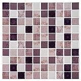 Ecoart Decorativos Adhesivos para Azulejos Pegatina de Pared, Azulejos de Gel, Diseño de Mosaico con Motivo, Efecto 3D, Cenefa Autoadhesivo, para Baño y Cocina, (Color de la Tierra)