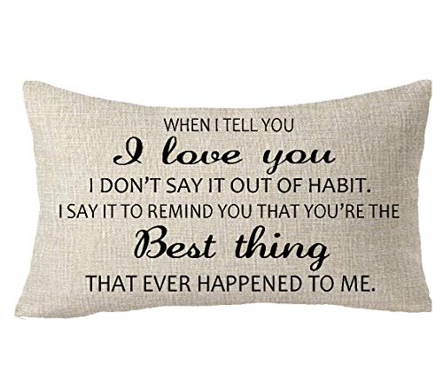 FELENIW I Love You You are The Best Thing to Me Blessing Gift to Friend Family Mom Lover Cotton Linen Decorative Throw Pillow Cover Cushion Case Lumbar 12x20 inches