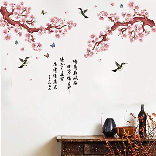 AFTUZC Wandaufkleber,Pflaume Alten Gedicht, Fliegende Vogel Tier Wall Sticker Wasserdicht PVC Umweltfreundlich Für Schlafzimmer Wohnzimmer Sofa Tv Hintergrund Wanddekoration