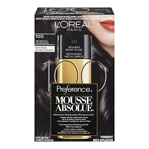 L'Oreal Paris Superior Preference Mousse Absolue Hair Color - 100 Pure Deep Black (Pack of 2)