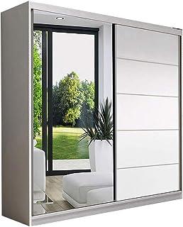 E-MEUBLES Armoire de Chambre avec 2 Portes coulissantes | Penderie (Tringle) avec étagères (LxHxP): 150x200x61 LARA05 (Blanc)