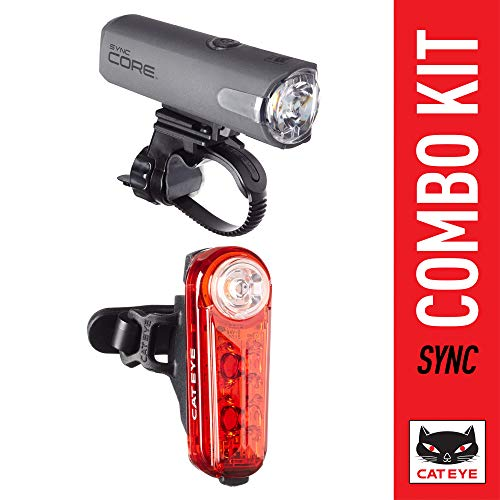 CAT EYE - SYNC Core Headlight and Kinetic Rear Light Combo Kit, High Power LED Rechargeable Bike Lights, Includes Mounting Hardware