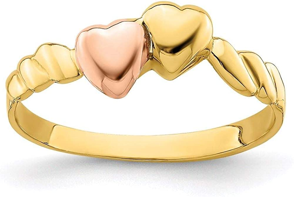 14K Two Tone Gold Two Hearts Ridged Band Ring, Size 7