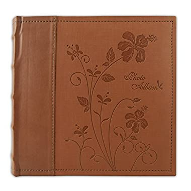 Golden State Art Photo Album Brown Scroll Embossed Faux Leather Cover, Holds 200 4x6 Pictures
