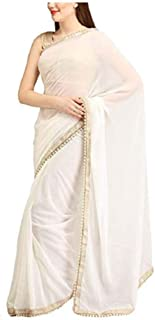 Sharvgun Women's Georgette Saree Plain Solid Colors Indian Bollywood Saree (Sari) with Unstitched Blouse Piece White
