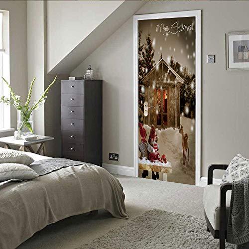 PEBROU 3D Türaufkleber Wandbild türposter türfolie Weihnachtsjungen und -mädchen Fototapete Türfolie Wasserdichte Abnehmbare Pvc Türtapete 90x200cm