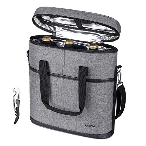 Tirrinia Insulated Wine Carrier - 3 Bottle Travel Wine Carry Cooler Tote Bag with Handle and Adjustable Shoulder Strap + Free Corkscrew, Grey