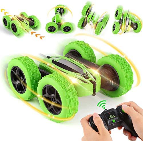 Coche teledirigido 4WD RC Stunt Auto 2,4 GHz mando a distancia con baterías de alta velocidad Buggy coche juguete para exteriores e interiores para niños niñas verde