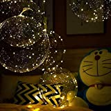 Light Up Led Balloons, 12 Pack Party Balloon Cell Battery 24 Inches 3 Mode Flashing String Lights Clear Balloon, for Birthday Wedding Decorations (Warm White)