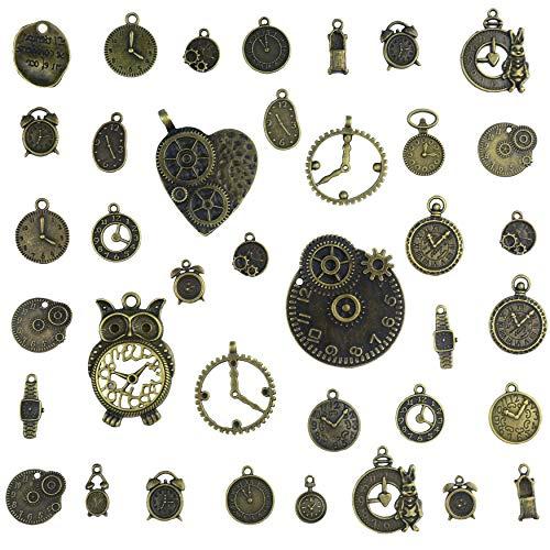 Aokbean 38pcs Orologio da Polso con Ciondolo per Orologio con Ciondoli in Bronzo Vintage per Gioielli Che Fanno Braccialetti con Collana per Bambini Favore del Partito
