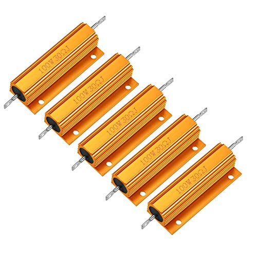 HLin 5Pcs Gold Tone 100W 30 Ohm 5% Aluminum Housed Wire Wound Resistor