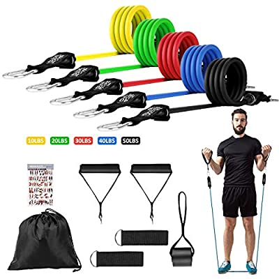 Huhuali Resistance Bands Workout Sets 12 Pcs Men Women Home Fitness Exercise Bands Workout with Door Anchor, Handles, Ankle Straps for Strength Training, Physical Therapy (12 PCS Exercise Bands)