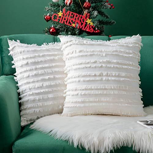 MIULEE Juego de 2 fundas de almohada decorativas de lino y algodón con diseño de rayas jacquard para decoración de Navidad, sofá, salón, recámara, 1616 x 16 pulgadas, color...