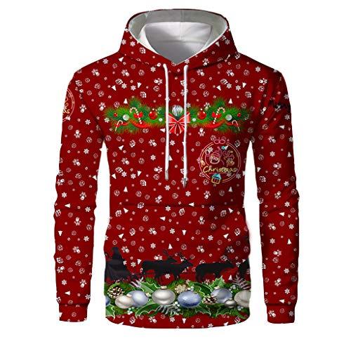 AIEason Herren Weihnachtspullover mit 3D-Druck, langärmelig, warm, Herren, rot, Large