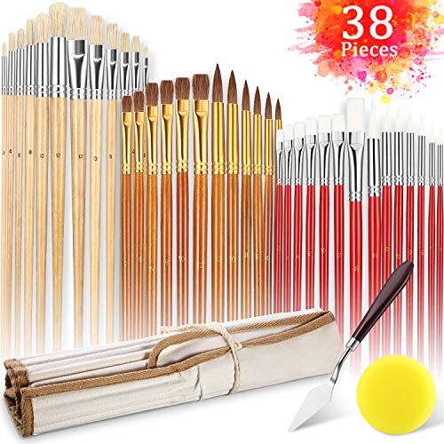 38 Pieces Paint Brush for Acrylic Watercolor Oil Gouache Painting with Pallete Knife Sponge and Portable Pouch for Artist Adult Kid