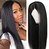 Echthaar perücke Human Hair middle lace front wig straight smooth natural hair Echthaarperücken für schwarze Frauen real remy brazilian hair (16 inch/40 cm,...