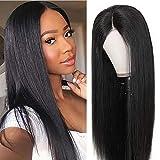 360 pelucas frontales de encaje Virginal brasileño recto 100% pelo humano verdadero 360 Lace front wigs for black women brezilian human hair Straight (16inch /40cm, color natural)