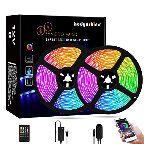 Bluetooth Music Strip Lights 32.8 Feet, Hedynshine Waterproof Strip Lights Sync to Music 300pcs LED Chips,RGB Rope Lights with Remote, Smart Phone App Controled Color Changing Light Strips