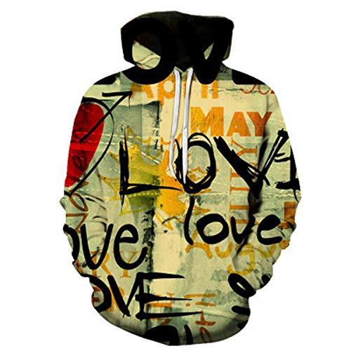 SLYZ Hombres Otoño E Invierno Nuevo Graffiti 3D Impresión Suéter con Capucha Chaqueta Casual para Hombres