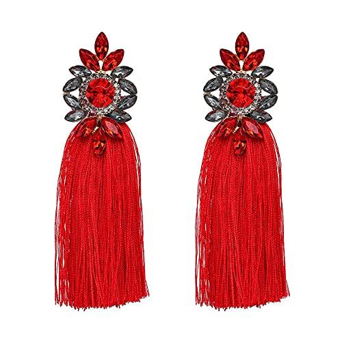 PADQ Moda Mujer Pendientes conFlecos Pendientes Colgantes Joyas Colgantes Rojo