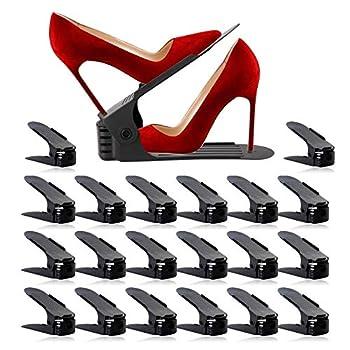 Shoe Slots Organizer Adjustable Shoe Stacker Space Saver Double Deck Shoe Rack Holder for Closet Organization  20-Pack  Black