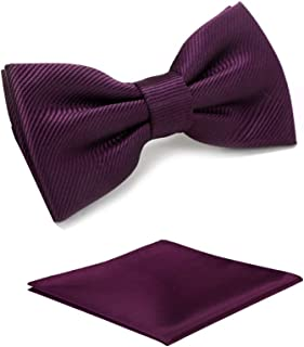 Boys Solid Pre-tied Bow Ties,Plum Purple Adjustable Tuxedo Bowtie For Boy With Multiple Colors+Pocket Square,By Fortunatever(11'-19')