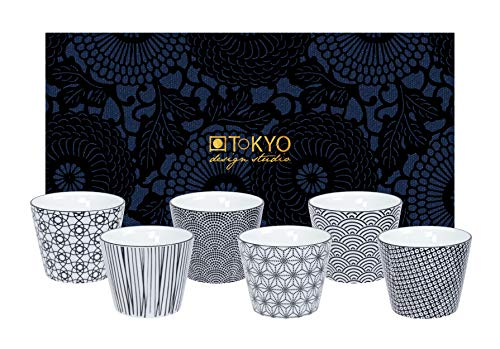 TOKYO design studio, Nippon Black, 6 Becher Set in dekorativer Geschenkbox, Porzellan Geschirr, 180ml