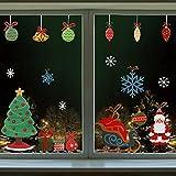 Belle Vous Pegatinas de Navidad para Cristales (4 Hojas) Papá Noel Grande, Árbol de Navidad, Copo de Nieve, Reno – Pegatina para Ventana, Hogar, Puerta, Decorar Navidad, Adornos - Copos de Nieve